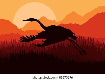 Crane flying in wild nature landscape illustration