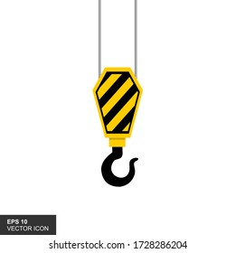 The crane hook icon is in a flat insulated style with a white background. Vector illustration of equipment symbol.