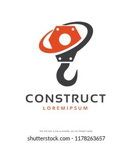 Crane Hook Logo Template Design Vector, Emblem, Concept Design, Creative Symbol, Icon