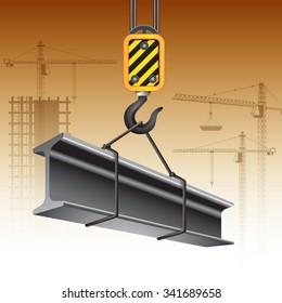 Crane hook with steel girder. Vector illustration
