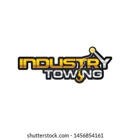 Crane Hook Towing industry shiny word mark. letter mark logo vector design template illustration