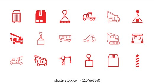 Crane icon. collection of 18 crane filled and outline icons such as truck with hook, cargo container. editable crane icons for web and mobile.