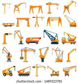 Crane icons set. Cartoon set of crane vector icons for web design