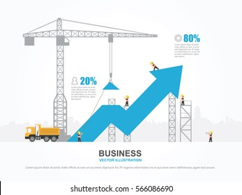 Crane and increasing graph. Infographic Template. Vector Illustration.