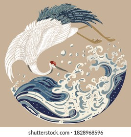 Crane and Japanese wave vector illustration for T-shirt.Traditional Chinese wave in circle.Beautiful line art of nature for printing on shirt.Asian art for doodle and painting on background.