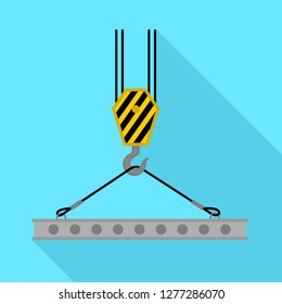 Crane lift beton platform icon. Flat illustration of crane lift beton platform vector icon for web design