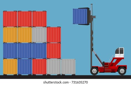 Crane lifting up container in yard. Flat and solid color design vector.