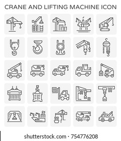 Crane and lifting machine vector icon set.