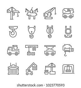 Crane for lifting work icon set.