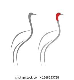 Crane logo. Isolated crane on white background. Bird