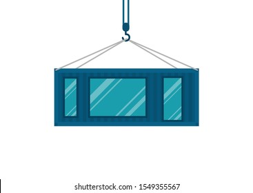 Crane lowers container from which modular house is made, reuse of containers, modern house on white background, vector, fleat style