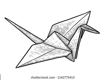 Crane origami illustration, drawing, engraving, ink, line art, vector