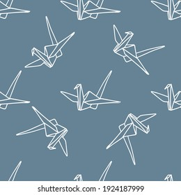 Crane origami seamless pattern. Japanese traditions. White outline on a gray background. Simple hand-drawn vector background. For paper, cover, fabric, gift packaging.