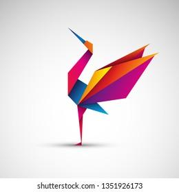 Crane origami. Vector icon
