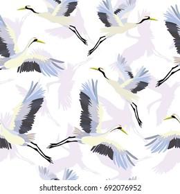 crane, pattern, birds, vector, illustration