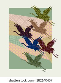 crane patterns: shapes consisting of abstract background elements and crane silhouettes are filled with different traditional Japanese patterns.