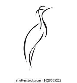 Crane silhouette drawn in black lines on a white background. Linear style bird heron. Logo for prints, tattoo, emblem for the design of the company or club. Vector isolated illustration