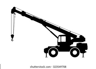 Crane Silhouette on a white background. Vector illustration.