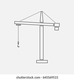 Crane simple icon. Contour illustration.