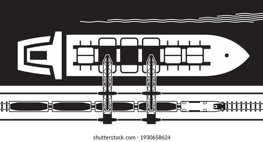 Crane transfers ore from railway wagons to an industrial ship – vector illustration