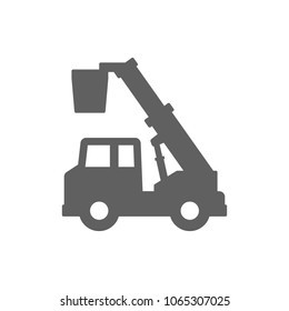 Crane truck with basket icon in trendy flat style isolated on white background. Symbol for your web site design, logo, app, UI. Vector illustration, EPS