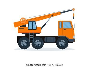 Crane truck. Heavy industry machine.