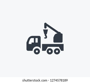 Crane truck icon isolated on clean background. Crane truck icon concept drawing icon in modern style. Vector illustration for your web mobile logo app UI design.