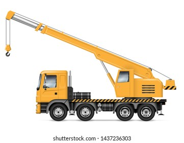 Crane truck with view from side isolated on white background. Construction vehicle vector mockup, easy editing and recolor.
