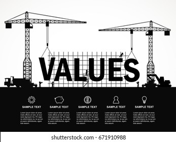 Crane and values building. Infographic Template. Vector Illustration.