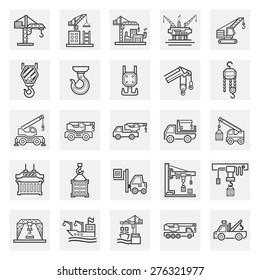 Crane vector icon or lifting equipment for building construction, shipping, transportation and production.