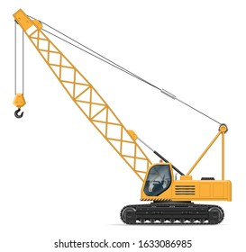 Crane view from side isolated on white background. Construction vehicle vector mockup, easy editing and recolor.
