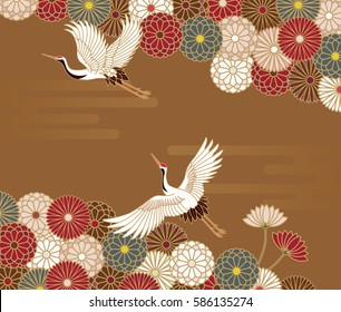 Cranes and chrysanthemums Japanese traditional pattern in gold background