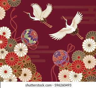 Cranes, handball and chrysanthemums Japanese traditional pattern