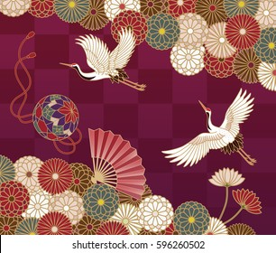 Cranes, handball, hand fan and chrysanthemums Japanese traditional pattern