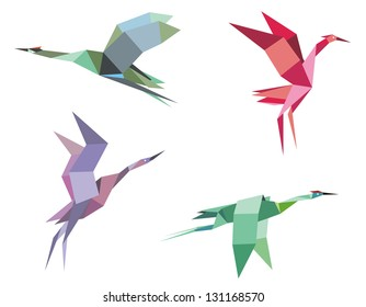 Cranes and herons birds in origami paper style for ecological or another design. Jpeg (bitmap) version also available in gallery