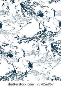 cranes japanese sakura vector pattern