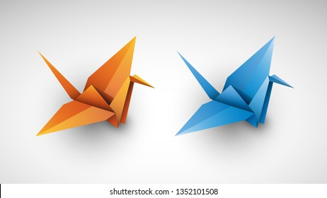Cranes origami. Vector illustration