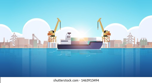 cranes in port loading containers on ship cargo industrial seaport sea transportation logistic maritime shipping concept factory buildings industrial zone background flat horizontal