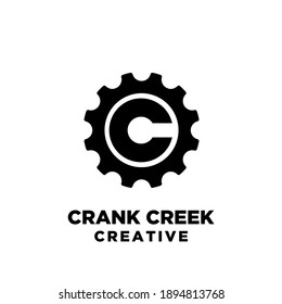 crank creek cycle creative sport bike with initial letter c vector logo icon illustration design isolated background