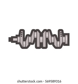 Crankshaft icon on white background, car parts