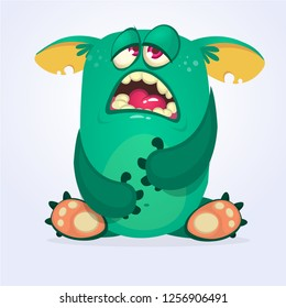 Cranky funny monster illustration