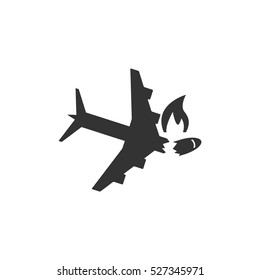 Crash plane icon flat. Illustration isolated vector sign symbol
