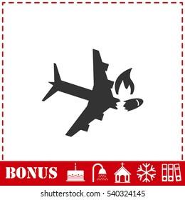 Crash plane icon flat. Simple vector symbol and bonus icon