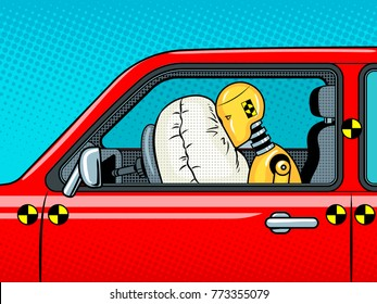 Crash test dummy in car after accident pop art retro vector illustration. Comic book style imitation.