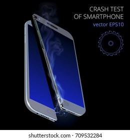 Crash test of smartphone. Vector 3d realistic sawed device with a blue touchscreen. Detailed cut of cell phone is smoking and throws lightning because of overheat and short circuit. Black background.