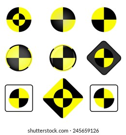 Crash test vector icon set. Crash test symbol.