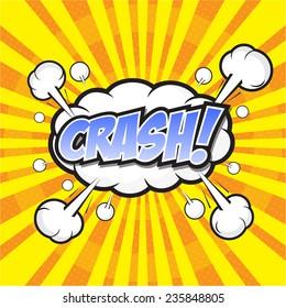 CRASH! wording sound effect set design for comic background, comic strip