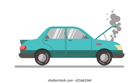 Crashed blue car with open hood, vector illustration isolated