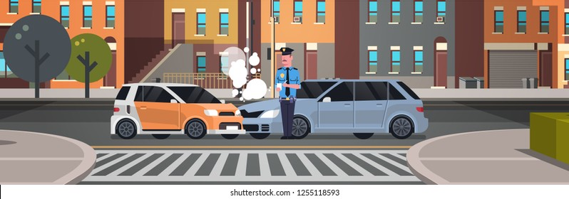 crashed car road accident police officer in uniform issuing report policeman writing legal fine document city buildings background flat horizontal banner