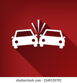 Crashed Cars sign. Vector. White icon with limitless shadow at ruby red background.